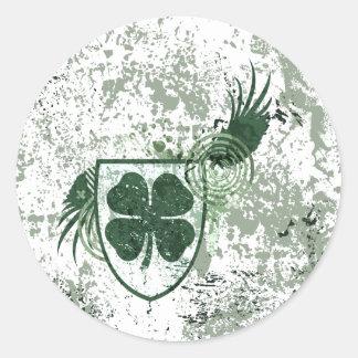 trevo de quatro folhas fidelidade adesivos em formato redondos
