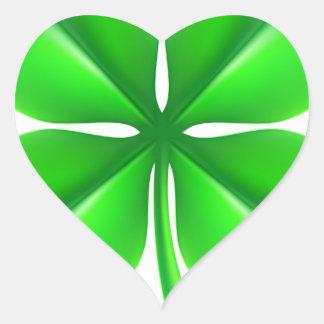Trevo do trevo de quatro folhas adesivo coração