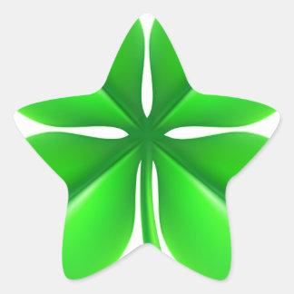 Trevo do trevo de quatro folhas adesivo estrela