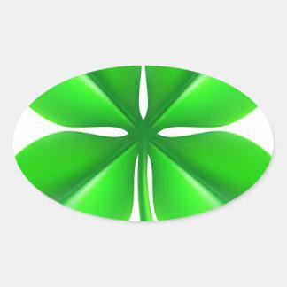 Trevo do trevo de quatro folhas adesivo oval