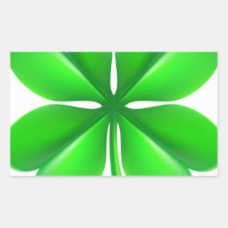 Trevo do trevo de quatro folhas adesivo retangular