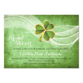 Trevo irlandês e chá de panela wedding verde do convite 12.7 x 17.78cm