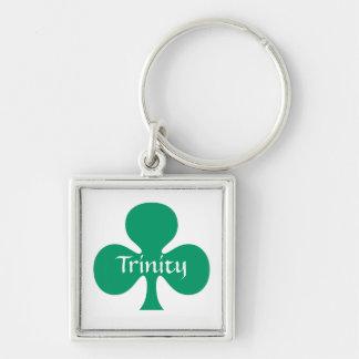 Trevo simbólico da trindade de St Patrick do Chaveiro Quadrado Na Cor Prata