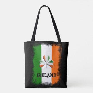 Trevo temático afligido cores irlandesas da bolsa tote