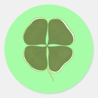 Trevo verde escuro, quatro etiquetas do trevo da adesivo