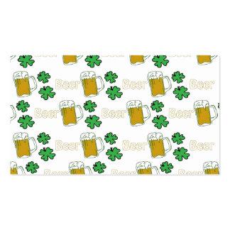 Trevos irlandeses da cerveja cartão de visita