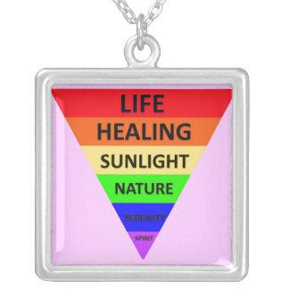 Triângulo do arco-íris com colar dos significados