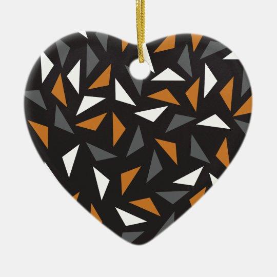 Triângulos animados ornamento de cerâmica coração