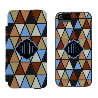 Triângulos de Monogramed, azul de Brown & bege