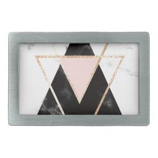 Triângulos, ouro, preto, rosa, mármores, colagem,
