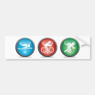 Triathlon Bumpersticker:  NATAÇÃO, CICLO, FUNCIONA Adesivo Para Carro