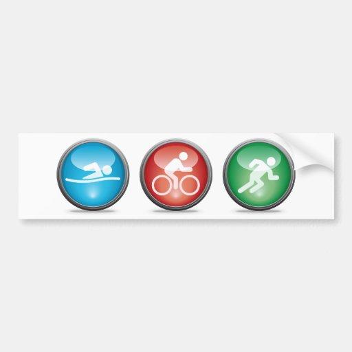 Triathlon Bumpersticker:  NATAÇÃO, CICLO, FUNCIONA Adesivo