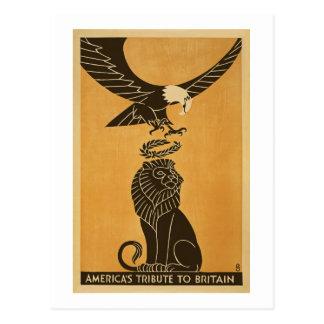 Tributo de Americas à propaganda de Grâ Bretanha Cartão Postal
