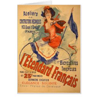 Triciclo francês da bicicleta da propaganda do vin cartao