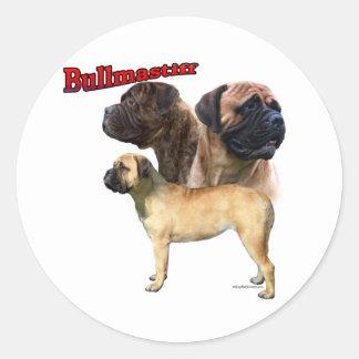 Trio 2 de Bullmastiff - etiqueta Adesivo Em Formato Redondo