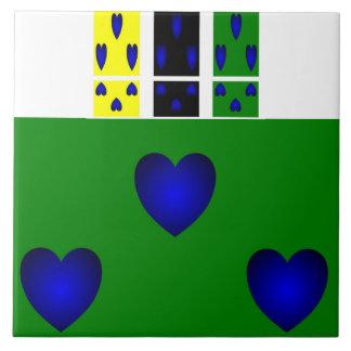 Trio azul dos corações azulejos