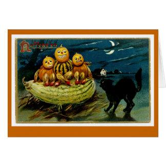 Trio da abóbora da Jack-o-Lanterna do Dia das Cartão Comemorativo