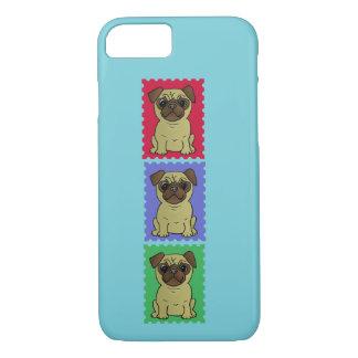Trio de capas de iphone coloridas bonitos dos Pugs