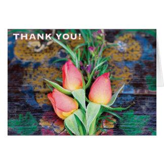 Trio do rosa do rosa, obrigado - cartão de nota