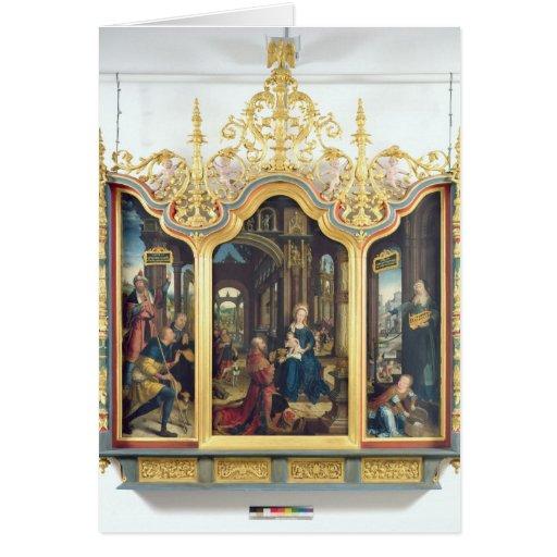 Triptych da adoração do cristo infantil cartoes