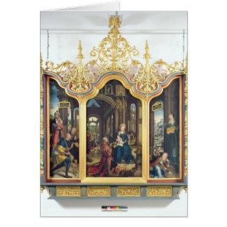 Triptych da adoração do cristo infantil cartão comemorativo
