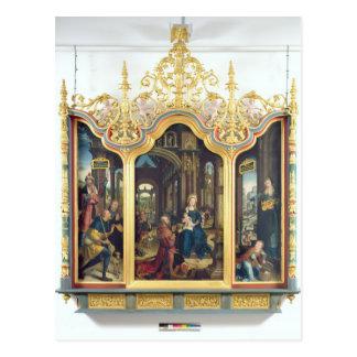 Triptych da adoração do cristo infantil cartão postal