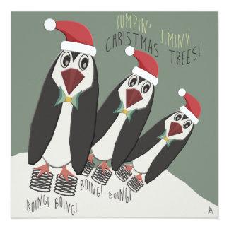 Troca engraçada do biscoito do Natal dos pinguins Convite Quadrado 13.35 X 13.35cm