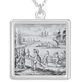 Troca inglesa com os indianos do oeste colar banhado a prata