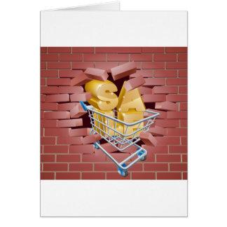 Trole da venda que quebra a parede cartão comemorativo