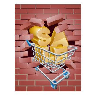 Trole da venda que quebra a parede cartão postal