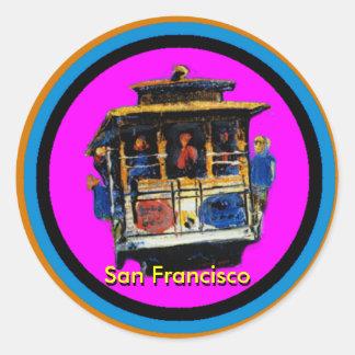 Trole de San Francisco Adesivos Redondos