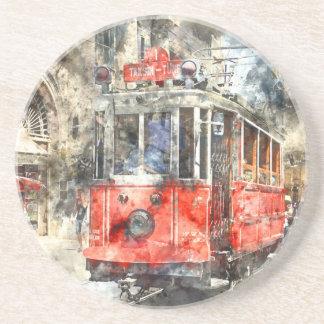 Trole do vermelho de Istambul turquia Porta Copos De Arenito