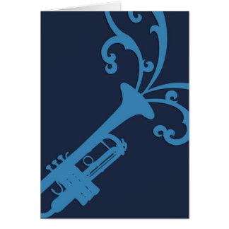Trombone musical azul cartão comemorativo