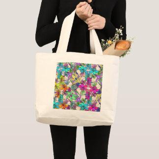 Tropical, floral, impressão da viga no bolsa