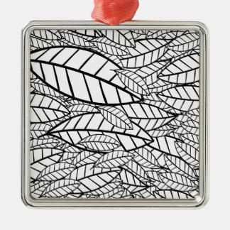 tropical grande ornamento quadrado cor prata