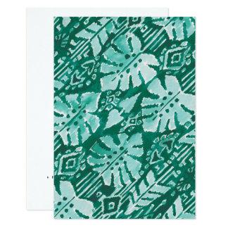 Tropical tribal verde havaiano da SELVA IKAT Convite 8.89 X 12.7cm