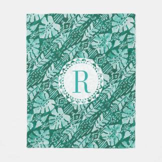 Tropical verde havaiano da SELVA IKAT do monograma Cobertor De Lã
