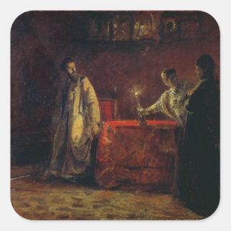 Tsar Boris Godunov e Tsarina Martha, 1874 Adesivo Quadrado