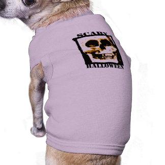 Tshirt assustador do cão do Dia das Bruxas Camisa Para Caes