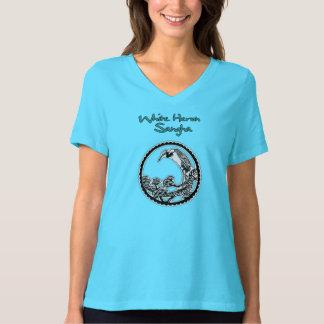 TShirt branco de Sangha da garça-real do v-pescoço Camiseta