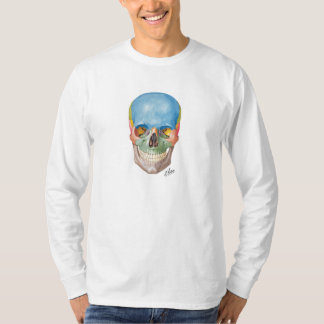Tshirt da longo-luva do crânio do Netter Camiseta