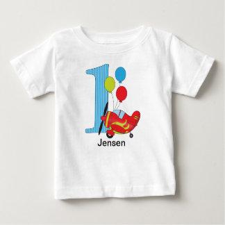 Tshirt do aniversário do avião primeiro camiseta para bebê