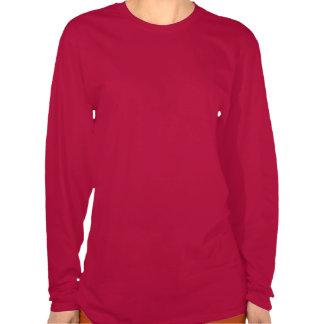 Tshirt do Longsleeve das mulheres vermelhas de
