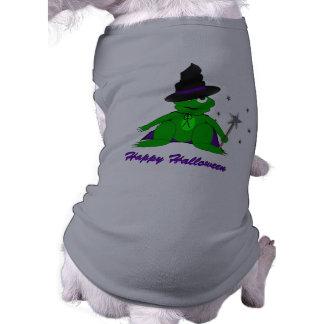 Tshirt feliz do Doggy do Dia das Bruxas do sapo má Camisa Sem Mangas Para Cachorro
