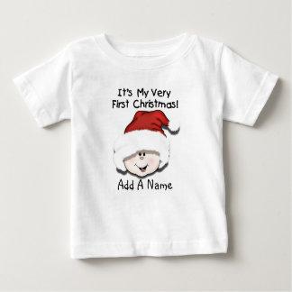 Tshirt personalizado do Natal do bebê branco ø Camiseta Para Bebê
