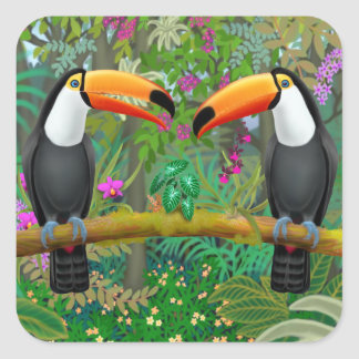 Ttropical Toucans em etiquetas da selva