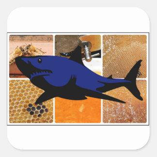 Tubarão do mel adesivo quadrado