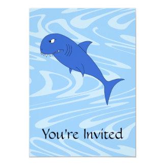 Tubarão dos desenhos animados convite 12.7 x 17.78cm
