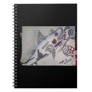 Tubarão/piranha Caderno Espiral