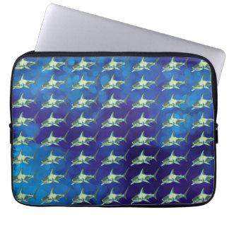 tubarões, azul do teste padrão bolsa e capa para computadore